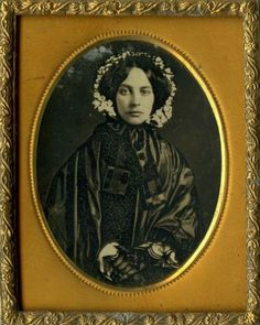 Lovely Lady in Fine Black Mourning Dress and White Flowered Bonnet Daguerreotype