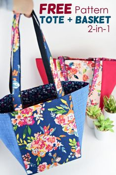 Easy Sewing Projects, Sewing Projects For Beginners, Sewing Tutorials, Bag Tutorials, Sewing Ideas, Tote Pattern, Bag Patterns To Sew, Easy Tote Bag Pattern Free, Wallet Sewing Pattern