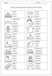ALFABETIZAÇÃO : ATIVIDADES DE ALFABETIZAÇÃO, COMPLETAR AS PALAVRAS, FORMAR PALAVRAS, LEITURA E ESCRITA