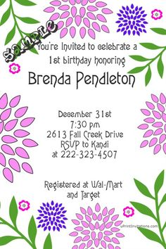Flower Birthday Invitations ANY COLOR -  Get these invitations RIGHT NOW. Design yourself online, download and print IMMEDIATELY! Or choose my printing services. No software download is required. Free to try!