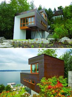 Small Lake House: Cladded In Copper | http://www.busyboo.com/2011/11/24/small-lake-house/
