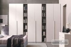 Armadio 6 ante battenti colore larice pino, con 2 vani libreria colore larice grigio, come foto