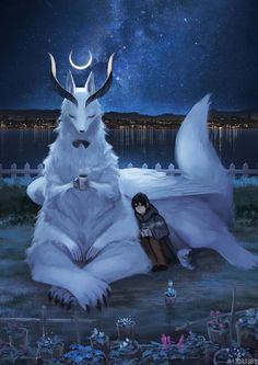 Artist pseudonym Japanese Illustrator Imagines A World Where Humans Live Among Giant Animals 30 Pics Mythical Creatures Art, Mythological Creatures, Magical Creatures, Japanese Mythical Creatures, Simple Illustration, Anime Kunst, Anime Art, Manga Anime, Fantasy World