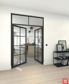 Sliding doors transform your Room Deco, Black And White Interior, Glass Door, My Dream Home, Decoration, Home Kitchens, Sliding Doors, Modern Design, Furniture Design