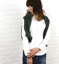 Gymphlex(ジムフレックス) コットン オックスフォード 長袖 ボタンダウン シャツ・J-0872YOX  #Gymphlex Bomber Jacket, Blouse, Jackets, Fashion, Down Jackets, Moda, Fashion Styles, Blouses, Fashion Illustrations