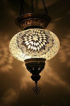 EXTRA LARGE TURKISH MOROCCAN MOSAIC HANGING LAMP SHADE PENDANT LANTERN