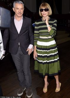 Star in stripes: Anna Wintour in a long sleeved green dress arrived with Australian direct...