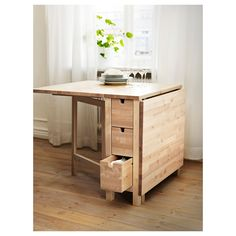 NORDEN Gateleg table - IKEA use only one side and place against wall for compact table.