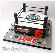Great cake idea for your little wrestler's birthday party A Wrestling Ring Cake of course! Wrestling Cake, Wrestling Party, Wrestling Birthday Parties, 10th Birthday Parties, Cupcakes, Cupcake Cakes, Wwe Cake, Wwe Party, 8th Birthday Cake