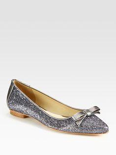 Grey Glitter Ballet Flats