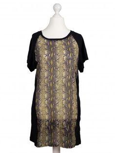Damen Tunika Shirt mit Print, schwarz