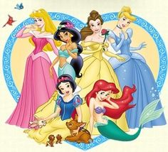 This picture alone says that a woman can be any race or look, as long as she is feminine in her dresses or tops, has longish hair, and is kind or shy looking. Girls learn from these characters that they should be a certain way and that they need a man. Can you name many princesses who don't need to be saved? Are they portrayed as highly as the others?
