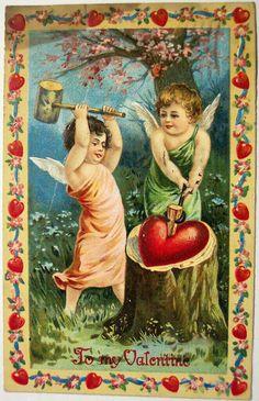 Buyenlarge Angels Piercing A Heart Painting Print Victorian Valentines, Vintage Valentine Cards, Vintage Cards, Vintage Postcards, Vintage Images, Heart Painting, Painting Frames, Painting Prints, Fine Art Prints