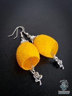 """Купить """"Жёлтые розы"""" серьги - авторская ручная работа, авторские серьги, авторские украшения"""
