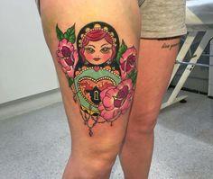 Colourful russian doll tattoo by Sidi at Wallington Tattoo
