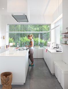 beautiful kitchen, large windows, white, spacey