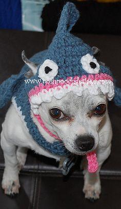 Shark Dog Hat Crochet pattern For Small Dogs
