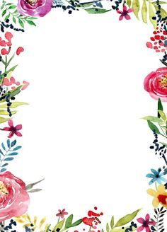 44 Ideas For Flowers Pattern Wallpaper Iphone Floral Watercolor Watercolor Pattern, Watercolor Flowers, Printable Border, Free Printable Invitations Templates, Printables, Birthday Wallpaper, Borders For Paper, Flower Invitation, Invite