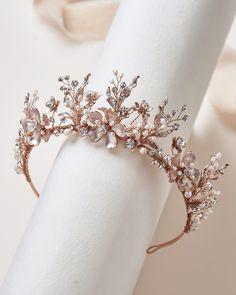 Bridal Crown, Bridal Tiara, Bridal Headdress, Pearl Headpiece, Crown Aesthetic, Wedding Tiaras, Wedding Crowns, Gold Tiara, Tiara Ring