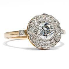 Um 1910: Antiker Platin, Gold & Diamant Ring der Belle Époque Verlobungsring