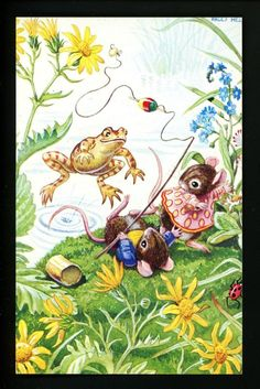 Animal Postcard Medici Society Anthropomorphic Artist Racey Helps Mouse frog