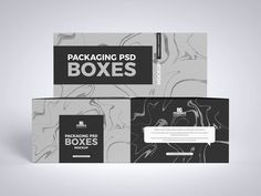 Free Front View Branding Boxes Packaging Mockup Design - Mockup Planet