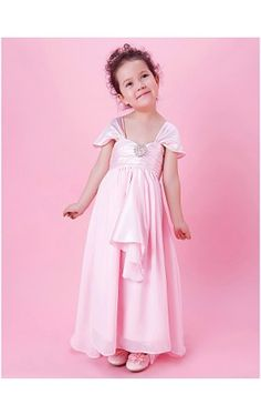 A-line Floor-length Flower Girl Dress With Square Neck In Stretch Satin And Chiffon