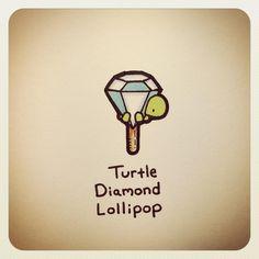 Turtle Diamond Lollipop by Sweet Turtles, Cute Turtles, Baby Turtles, Turtle Time, Tiny Turtle, Cute Turtle Drawings, Cute Drawings, Little Doodles, Cute Doodles