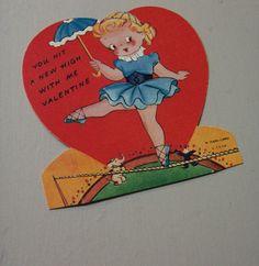 Vtg Valentine Card Circus Tight Rope Walker Ballerina Shoes A-Meri-Card UNUSED