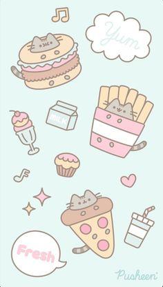 Pusheen the cat iphone wallpaper food Cute Backgrounds For Iphone, Cute Wallpaper For Phone, Kawaii Wallpaper, Cat Wallpaper, Cute Wallpaper Backgrounds, Iphone Wallpaper, Kawaii Doodles, Cute Doodles, Kawaii Art