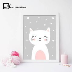 Kawaii wall art print for kids' room or nursery with an illustration of a cute happy white cat over grey background. Art Wall Kids, Nursery Wall Art, Canvas Wall Art, Wall Art Prints, Poster Prints, Cat Bedroom, Living Room Prints, Kids Room Paint, Kids Canvas