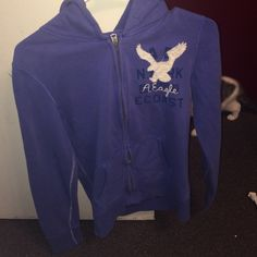 American eagle zip up hoodie American eagle zip up hoodie size small. Blue/purple color. Like new! American Eagle Outfitters Sweaters