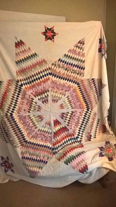 Vintage Summer Weight Flour Sack Coverlet or Quilt 1930s Texas Star Hand Sewn