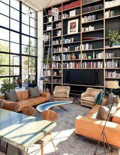 This New York penthouse is a definite example of exemplary contemporary design don't you think? Modern House Design, Modern Interior Design, Interior Architecture, Design Interiors, Modern Interiors, Interior Ideas, Home Library Design, Library Ideas, Library Ladder