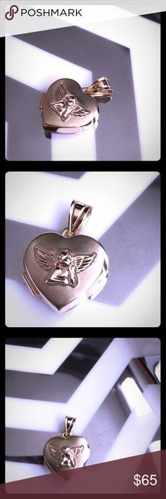 ✨SALE!✨BEAUTIFUL 14k Gold Angel Locket Gently Worn; Lovely 14k Gold Angel Locket! Minor Signs of Wear, e.g. Light, Minor Surface Scratches, Minor Signs of Tarnish (Please See Photos.) Overall, Great, Beautiful Condition! 14k Gold Stamp on Locket, but it is difficult to see and photograph. Please Zoom-in to Verify Authenticity. Gift Purchased at Macy's. Macy's Jewelry