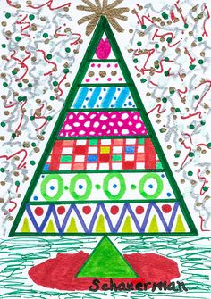 """Funky Christmas"" - - Original 5"" x 7"" heARTwork by Susan Schanerman"