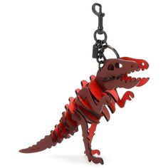 Coach Dinosaur Leather Keychain (€250) ❤ liked on Polyvore featuring accessories, bag accessories, red, leather key chain, coach key chain and fob key chain