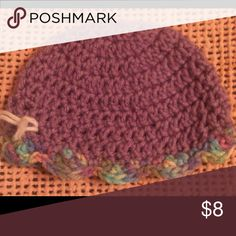 """Purple Baby Newborn Baby Hat Beanie This is a cute purple crocheted hat for a newborn. Trimmed in multi-color yarn. Measures 14"""" and stretches for growing. Made with 100% acrylic yarn, machine washable. Makes a great gift! Lovingly made in a non-smoking home. Lobax  Accessories Hats"""