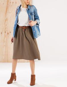Falda midi goma cintura