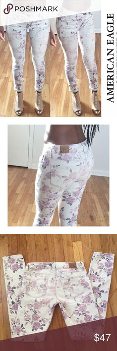Floral print American Eagle skinny jeans Dusty rose dusty purple and cream floral print stretch jeans so cute with a blue denim shirt!!                                                            Size✨0   Material✨98% cotton 2% spandex Measurements✨waste 13 inches,  rise 8 1/2 inches, inseam 30 1/2 inches, cuff 5 inches Condition✨ fantastic Wash cold water  No tradesNo holdsNo paypals Smoke Free✅Pet Free Home✅Fast Shipping american eagle Jeans Skinny