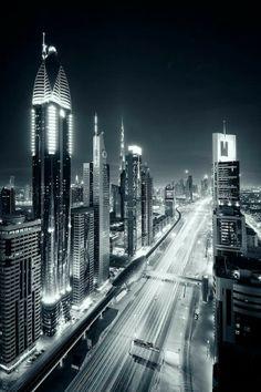 Sheikh Zayed Road Dubai at night