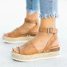 / Frauen High Heels Sandalen Sommer Schuhe 2019 Flip Flop Chaussures Femme Plateau Sandalen 2019 Plus Size High Heels Boots, Wedge Sandals, Heeled Sandals, Sandals Outfit, Summer Sandals, Sandals Platform, High Sandals, Espadrille Sandals, Summer Wedges