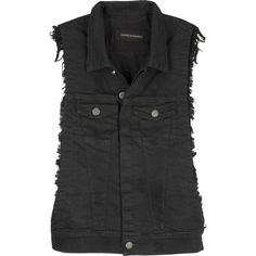 Citizens of Humanity Hesher denim vest ($190) ❤ liked on Polyvore featuring outerwear, vests, tops, jackets, black, black waistcoat, sleeveless denim vest, vest waistcoat, patch vest and black vest