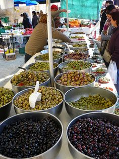 Market / Mercado, Sant Cugat, Spain; selection of olives