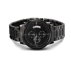 My Man - Beautiful Black Chronograph Watch Customize Gift for Husband, – Shiny Jewelry Charm Valentine Gifts For Husband, Fathers Day Gifts, Husband Gifts, Watch Engraving, Wedding Anniversary Gifts, Wedding Gifts For Groom, 6th Anniversary, Bride And Groom Gifts, Chronograph