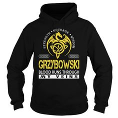 GRZYBOWSKI Blood Runs Through My Veins (Dragon) - Last Name, Surname T-Shirt