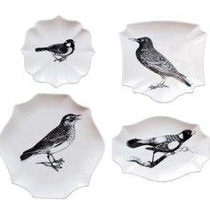 Bird plates - set of four