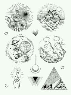 Tattoo design, pen and ink drawing, mountains, planets, poppies