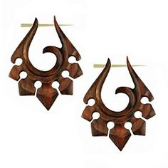Earrings Organic Carved Wood Jewelry Tribal Brown 1 Pair