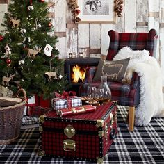 Country Christmas living room with checked carpet, tartan wing chair, tartan trunk and Christmas tree Christmas Interiors, Christmas Living Rooms, Christmas Room, Cozy Christmas, Country Christmas, Christmas Themes, Christmas Tree Decorations, Christmas Holidays, Holiday Decor